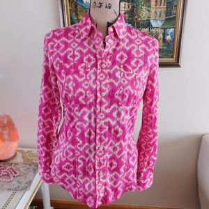 MICHAEL KORS PINK WHITE PRINTED BUTTON DAWN SHIRT